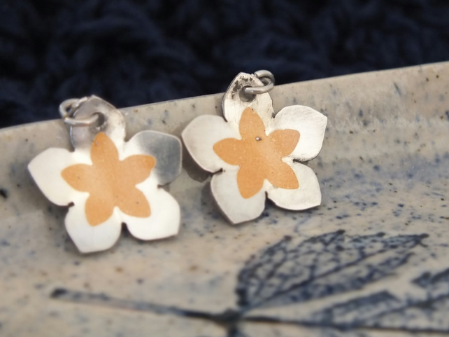 Flower shaped silver earrings with amber coloured detail