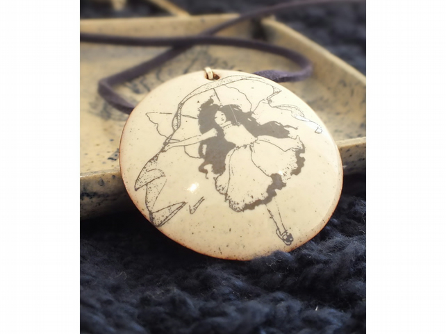 Dancing fairy enamelled pendant