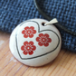 Folky Heart and flowers enamelled pendant