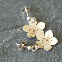 Fine silver pressed flower earrings