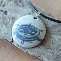Ships wheel enamelled pendant