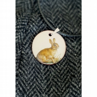 Rabbit enamelled pendant