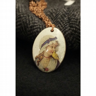 Girl with canary pendant