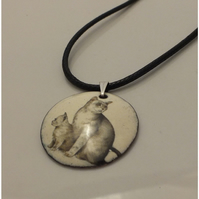SALE: Cat and kitten pendant