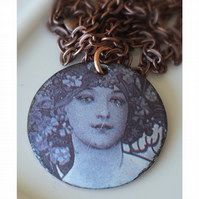 Beautiful woman, enamelled pendant