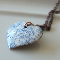 Pale blue and white heart, enamelled pendant