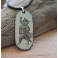 Cat with sash enamelled pendant