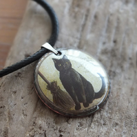 Witch's Cat enamelled pendant