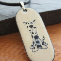 Cartoon dog enamelled pendant