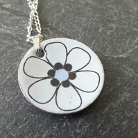 Abstract flower white pendant