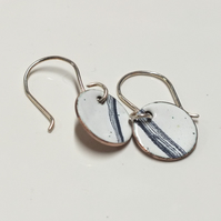 Blue and white enamel earrings