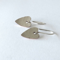 Heart earrings in reclaimed silver-plated copper