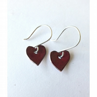 Red enamel heart earrings