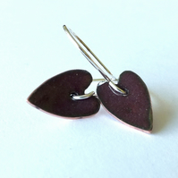 Elongated purple heart earrings
