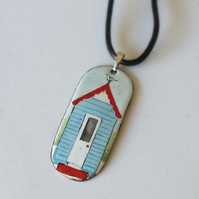 Beach hut enamelled pendant