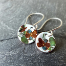 Floral enamel earrings