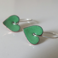 Green enamelled heart earrings