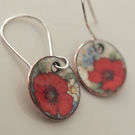 Poppy enamelled earrings