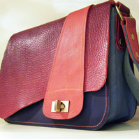 Zella - 1970s inspired leather handbag by Joebobjim in Mulberry pink and Blue