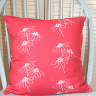 Daisy Trio Print Cushion - Red