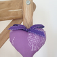 Hanging Heart Decoration - Purple Hollyhocks