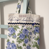 Two Little Dickie Birds Floral Tote Bag