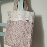 Two Little Birds Floral Tote Bag