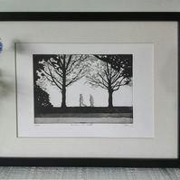 Forest art woodland anniversary art - 'A walk in the woods' - black white print