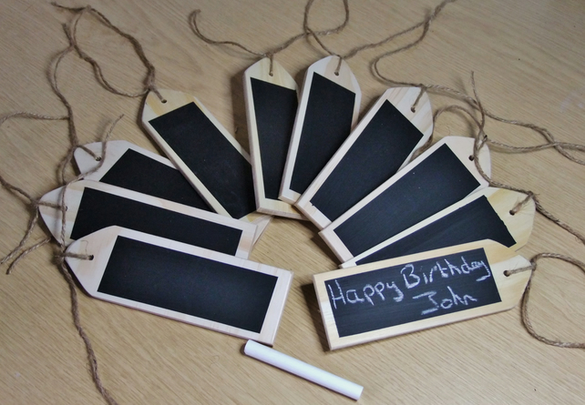 10 gift tags or labels with chalkboard face for Chistmas birthday presents