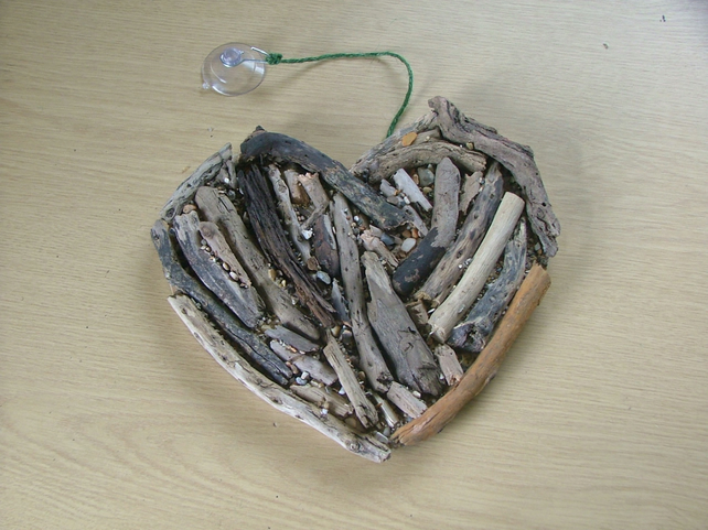 Driftwood heart shaped wallhanging, driftwood from Cornwall