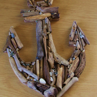 Wooden anchor made from driftwood found on beaches in Cornwall.