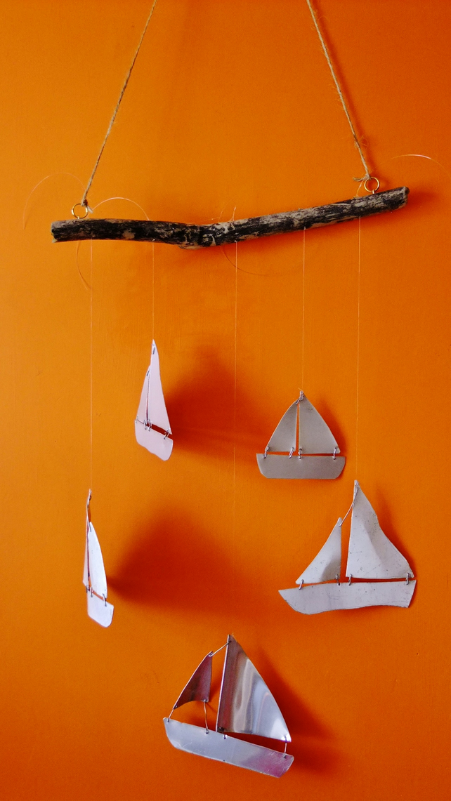 Mobile with yatch boat ship made from recycled aluminium & cornish driftwood