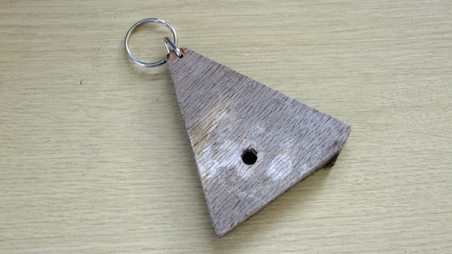Triangular key fob made from Cornish driftwood, for the shed, garage or house