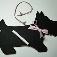Cute little Scottie Dog chalkboard wallhanging for messages or reminders.