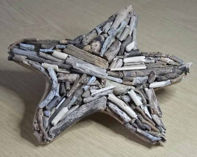 Driftwood starfish shaped wallhanging, driftwood from Cornwall