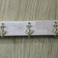 WOODEN COAT OR CLOTHES RACK WITH THREE BRASS ANCHORS IDEAL FOR SAILOR