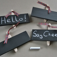 WOODEN CHALKBOARDS ON PEGS FOR FLORIST, MARKET STALL, CAR BOOT, WEDDING
