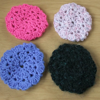 Four crochet bun hair nets, colourful, handmade for danceware, majorette
