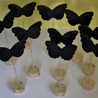 10 butterfly shaped chalkboards for wedding table place numbers or names.