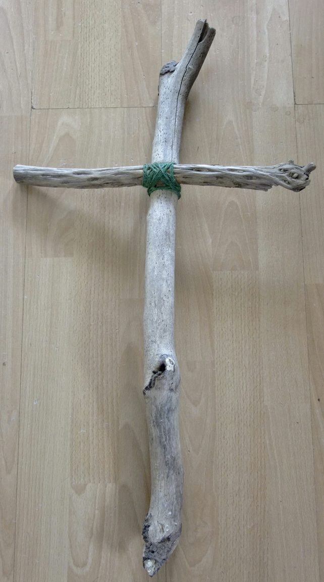 Rustic & simple crucifix or cross of Jesus, made from Cornish driftwood.