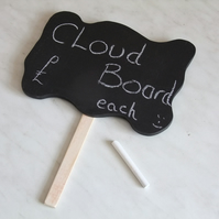 Chalkboard thought cloud with handle for party, celebration, wedding fun.