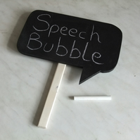 Chalkboard speech bubble with handle for party, celebration, wedding fun.