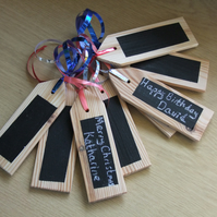 20 Christmas or birthday gift tags with chalkboard face, can be used over & over