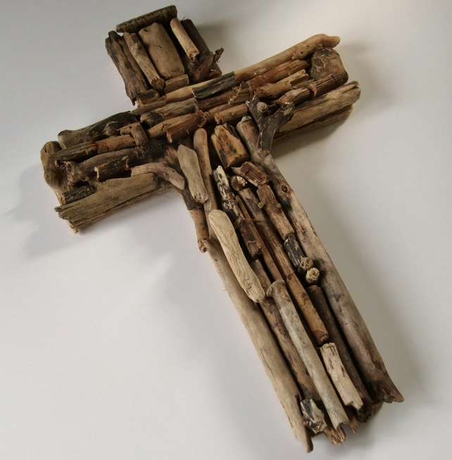 Crucifix or cross of Jesus, made from Cornish driftwood, natural & rustic.