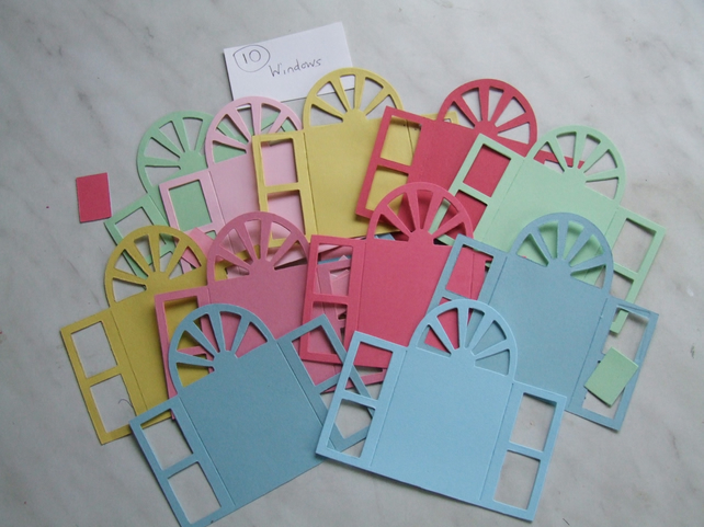 20 door or window shaped Sizzix die cuts for card embellishments & crafting.