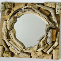Decorative mirror made from driftwood, cork, string & recycled wood, rustic.
