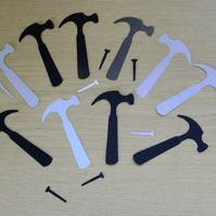 12 hammer & nail shaped Sizzix die cuts for Father's Day card embellishment.