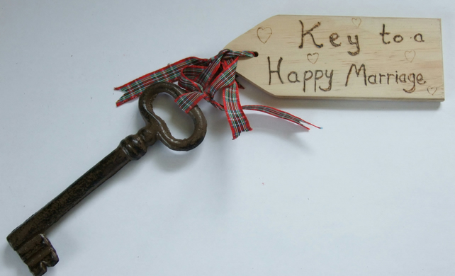 Key to a Happy Marriage key with it's own wooden tag for wedding anniversary.