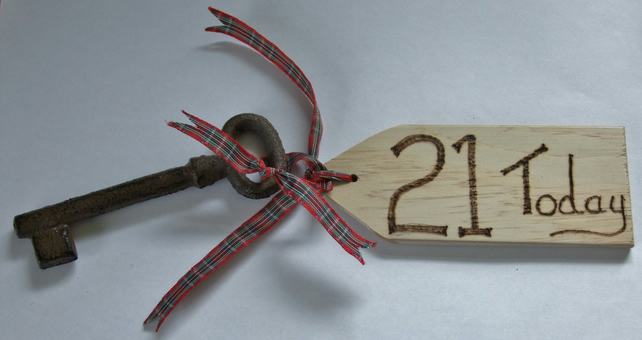21st birthday key of the door celebration of coming of age & wooden tag.
