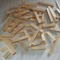 Box of wood for child to play with, building blocks. Ideal for preschool or home